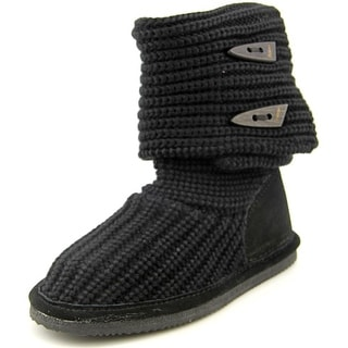 Bearpaw Knit Tall Youth Round Toe Canvas Black Winter Boot