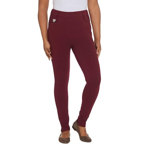 Quacker Factory Womens DreamJeannes Pull-On Leggings XX-Small Wine A343012
