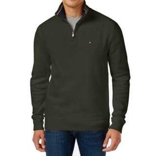Tommy Hilfiger NEW Green Mens Size 2XL 1/2 Zip Solid Pullover Sweater
