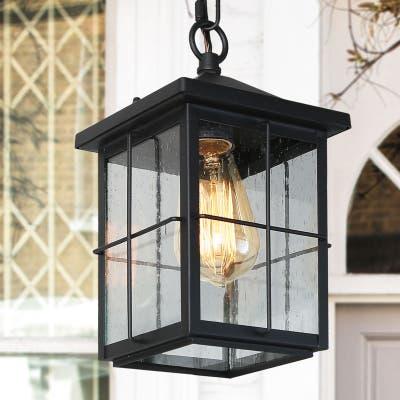 "Farmhouse 1-light Black Lantern Outdoor Pendant Lights - L 6"" x W 6"" x H 11.5"""