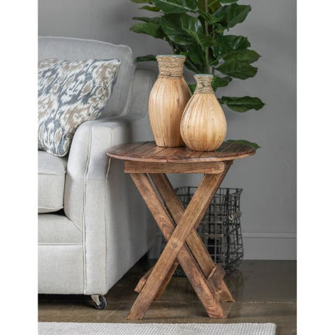 "Madie 21"" Round Mango Wood Folding Table - 24""H x 21""Rnd"