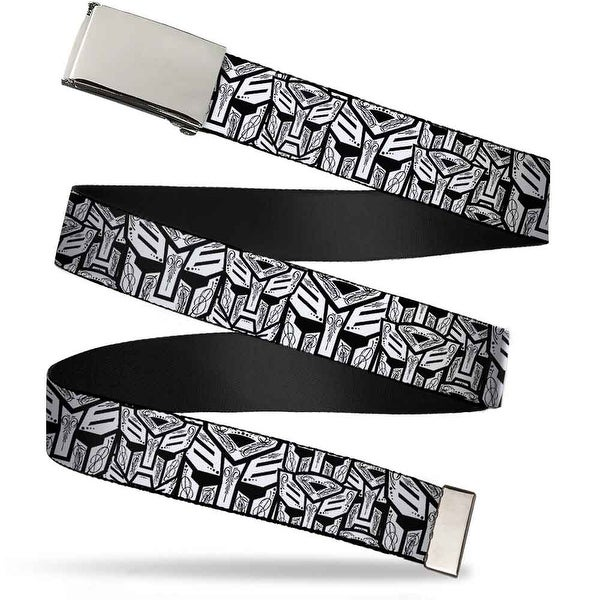 Blank Chrome Buckle Autobots Swirl Stacked White Black Webbing Web Belt - S