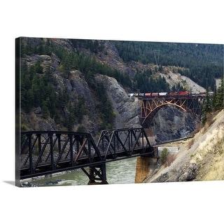 """Freight Train Crossing Cisco Bridge over Fraser River, British Columbia, Canada"" Canvas Wall Art"