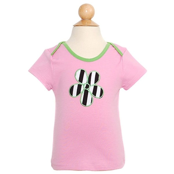 Lipstik Baby Girls 12M Pink Stripe Heart Short Sleeve Top Shirt