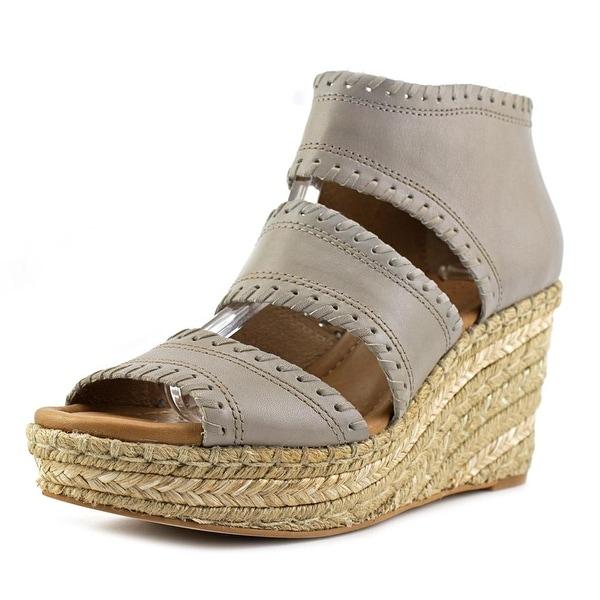 Corso Como Joyce Women Open Toe Leather Gray Wedge Sandal