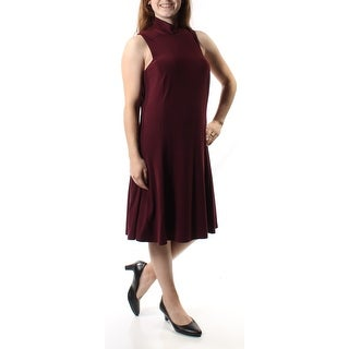Womens Burgundy Sleeveless Below The Knee Trapeze Party Dress Size: 10