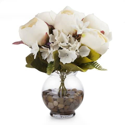 Enova Home Beige Mixed Silk Peony and Hydrangea Flower in Glass Vase With Faux Water and River Stone