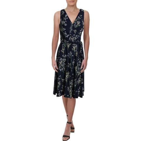 Lauren Ralph Lauren Womens Petites Carana Wrap Dress Floral Sleeveless - Navy Multi