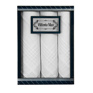 Men's White 100% Cotton Soft Finish 3 PCS Handkerchiefs