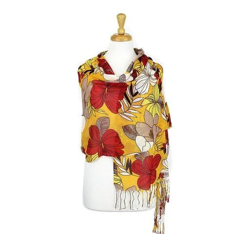 Women's Fashion Floral Soft Wraps Scarves - F10 Camal Yellow - Large