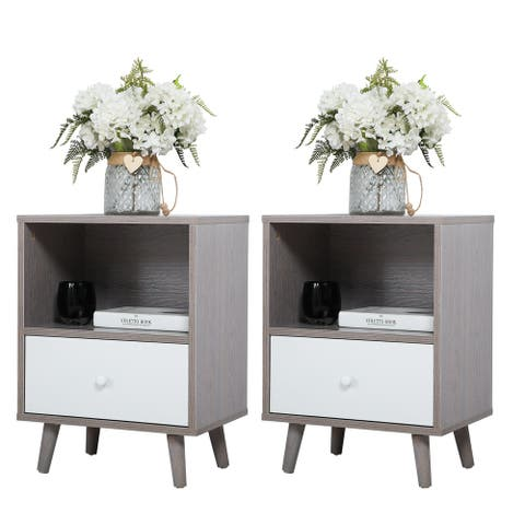 Set of 2 Nightstand with Drawer and Shelf