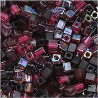 Miyuki 4mm Glass Cube Beads Color Mix Vinyard Purples 10 Grams