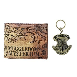 "Harry Potter ""Muggledom Mysterium"" Bi-Fold Wallet and Hogwarts Keychain Set"