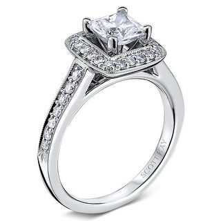 14kt White Gold Ladies Halo Semi Mount With 0.33CT Diamonds Milgrain  Setting Wedding Band By