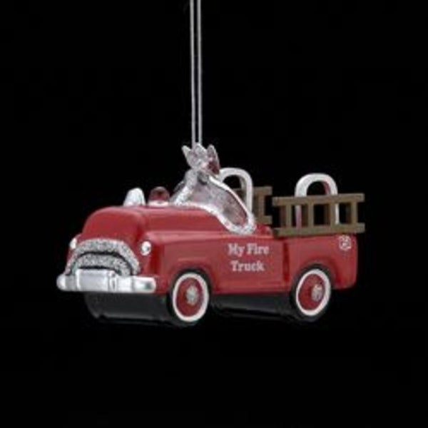 """3.75"""" Noble Gems Red Glittered Glass """"My Fire Truck"""" Christmas Ornament"""
