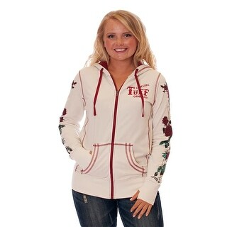 Cowgirl Tuff Western Sweatshirt Womens Hoodie Zipper Cream F00356