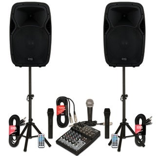 """Acoustic Audio AA15BS Powered 15"""" Bluetooth Battery Speakers Mixer Mics Stands"""