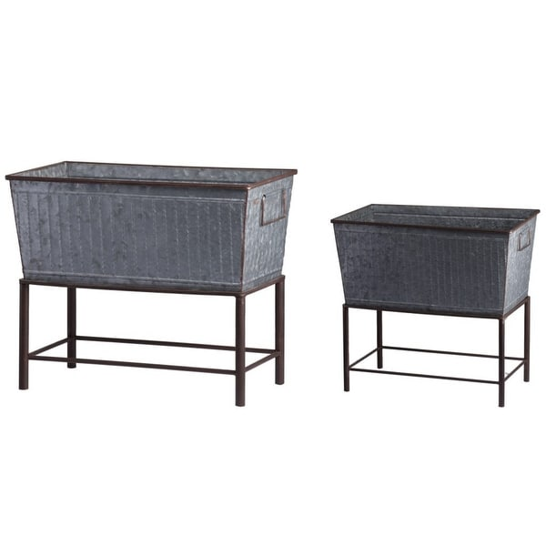 """Set of 2 Gray and Brown Garden Style Rustic Planters with Stands 20"""" - N/A"""