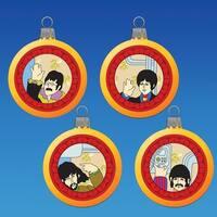 Set of 4 The Beatles Yellow Submarine Reflector Glass Ball Christmas Ornaments