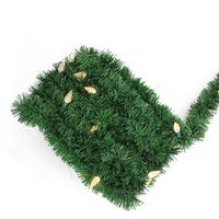18' Pre-Lit Green Pine Artificial Christmas Garland - Warm White LED C6 Lights