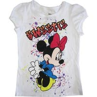 "Disney Little Girls White Minnie Mouse ""Sweetie"" Short Sleeve Shirt Top 4-6X"