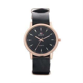 Petite Classic Faux Black Leather Watch - Brown