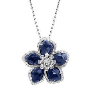8 ct Natural Sapphire & 1/4 ct Diamond Flower Pendant in Sterling Silver - Blue