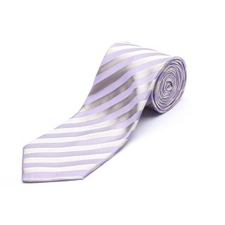 Versace Men's Silk Slim Striped Neck Tie Purple/Gold