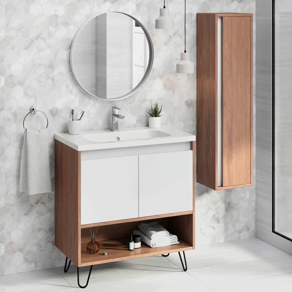 32 Bathroom Vanity Cabinet Ceramic Sink Set Manhattan W 32 X H 35 X D 18 In Wf101 Suede Overstock 31475951