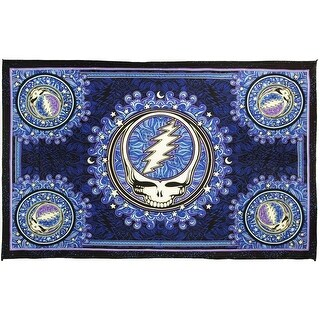 Grateful Dead Tapestry Steal Your Face Tablecloth Beach Sheet Throw 60x90 Blue Black - 60 x 90 inches