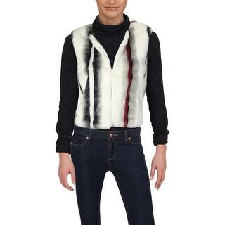 Elie Tahari Womens Lilan Outerwear Vest Winter Faux Fur - L