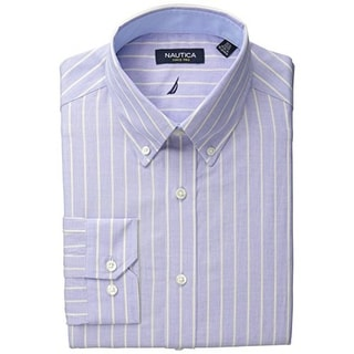 Nautica Mens Striped Button-Down Collar Dress Shirt