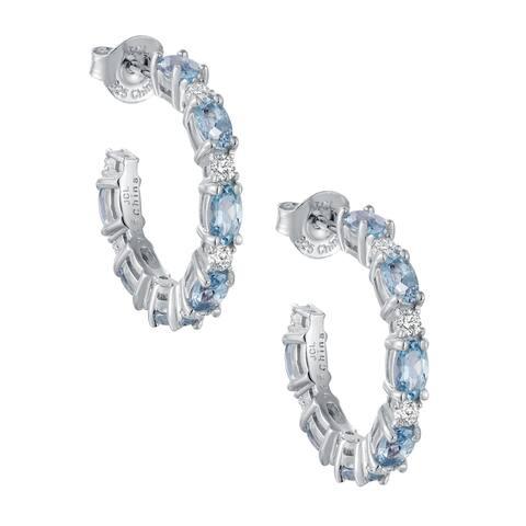 Oval-Cut Aquamarine Gemstone Hoop Earrings, Sterling Silver