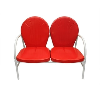 Vibrant Red and White Retro Metal Tulip 2-Seat Double Chair