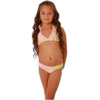 Kate Mack Little Girls Pink Coral Stripes 2 Pc Bikini Swimsuit 4-6X