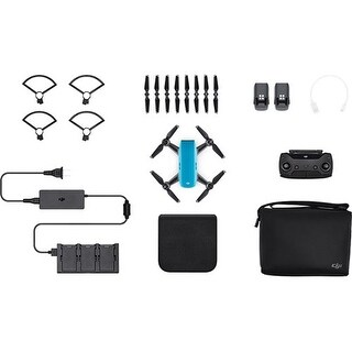 DJI Spark Mini Drone - Sky Blue Spark Mini Drone - Fly More Combo With Remote and Accessories - Sky Blue