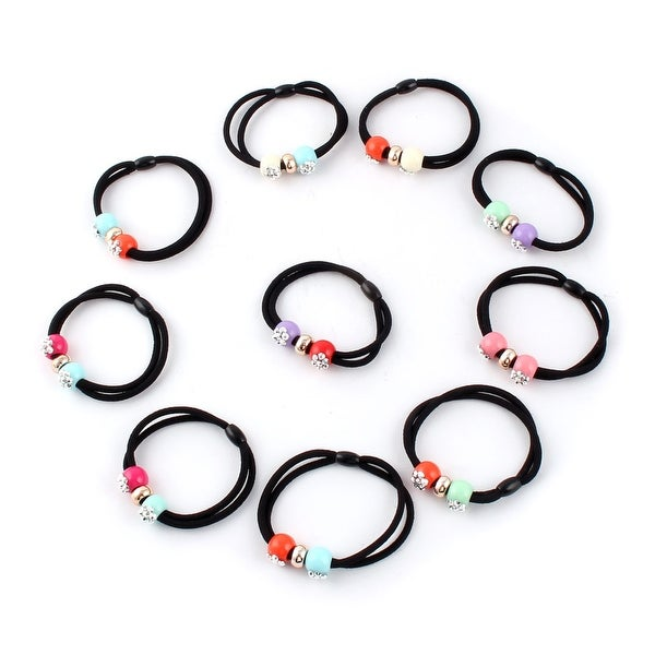 Lady Rubber Bead Decor Elastic Ponytail Holders Hair Bands Assorted Color  10 Pcs b45b94bc3b4