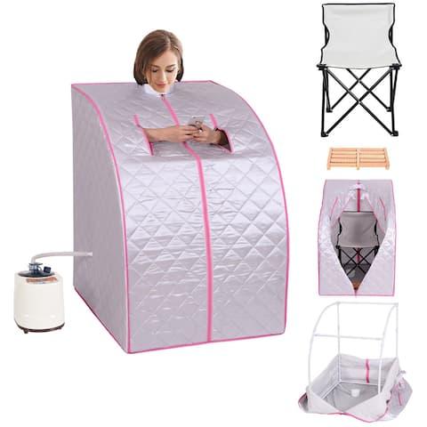 Portable 2L Steam Sauna Spa Full Body Detox Therapy w/Chair - sliver