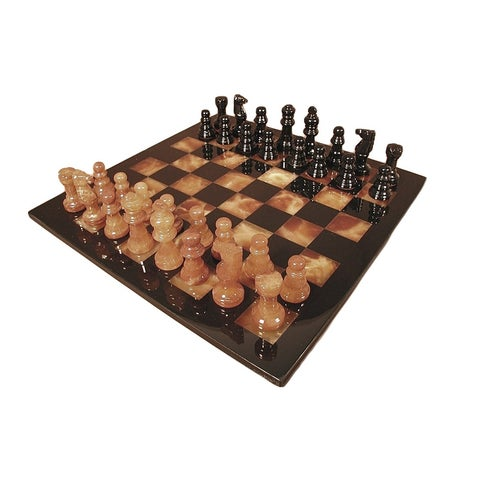 Black & Brown Alabaster Chess Set