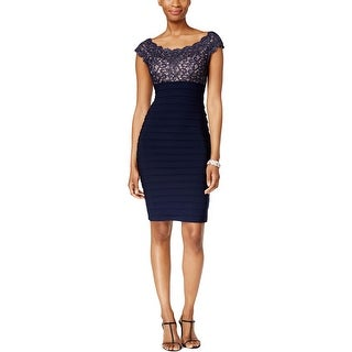 Xscape Womens Cocktail Dress Matte Jersey Embroidered