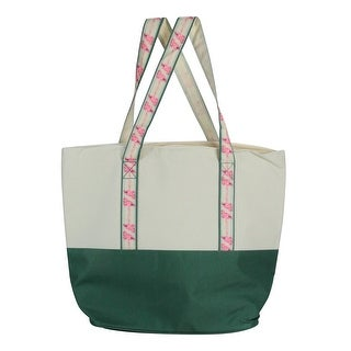 "17"" Green and Beige Insulated Cooler Tote with Flamingo Straps"