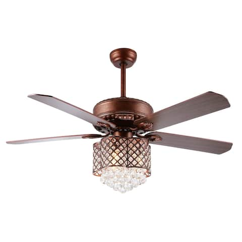 """SAFAVIEH Lighting 42-inch Pearla LED Ceiling Light Fan (with Remote) - 42"""" W x 42"""" L x 14"""" H"""