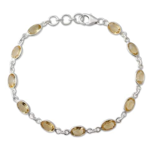 NOVICA Handcrafted Sterling Silver 'Romantic Yellow' Citrine Bracelet (India)