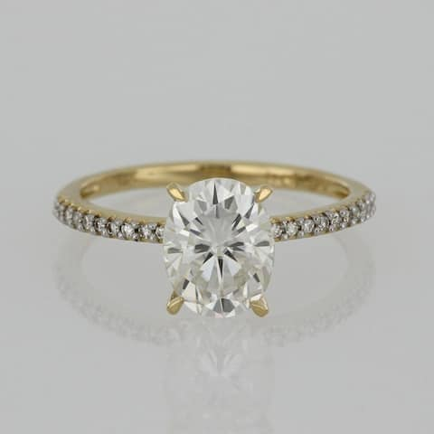 Miadora 2ct DEW Oval-cut Moissanite and 1/10ct TDW Diamond Engagement Ring in 14k Yellow Gold