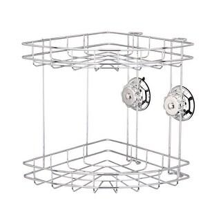 Kitchen/Bathroom Stainless Steel Turn Lock Vacuum Suction Cup Corner Basket Caddy