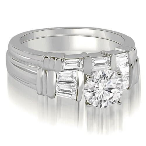 1.30 cttw. 14K White Gold Antique Round Cut Baguette Diamond Bridal Set