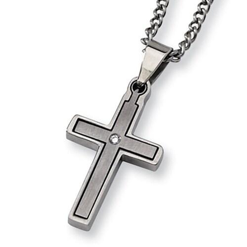 Chisel 2 Piece Titanium Diamond Cross on 22 Inch Steel Curb Chain (2 mm) - 22 in