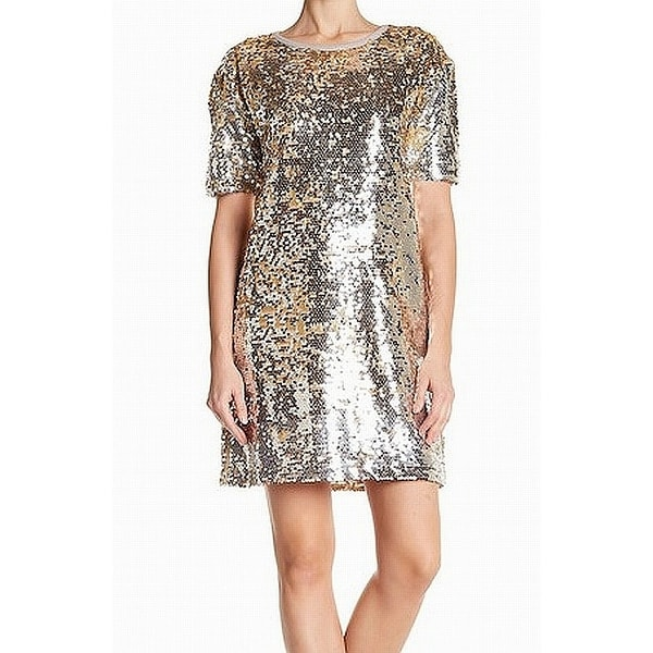 0f566238fa Free Press Silver Gold Womens Size Small S Sequined Shift Dress