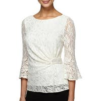 Alex Evenings Womens Petites Blouse Metallic Lace