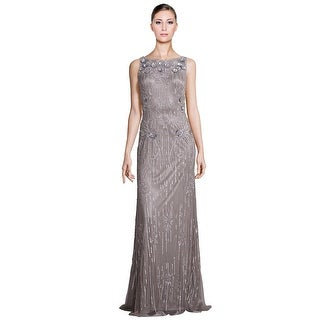 Theia Metallic Sleeveless Sequin Beaded Evening  Gown Dress